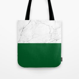 emerald green and white marble Tote Bag