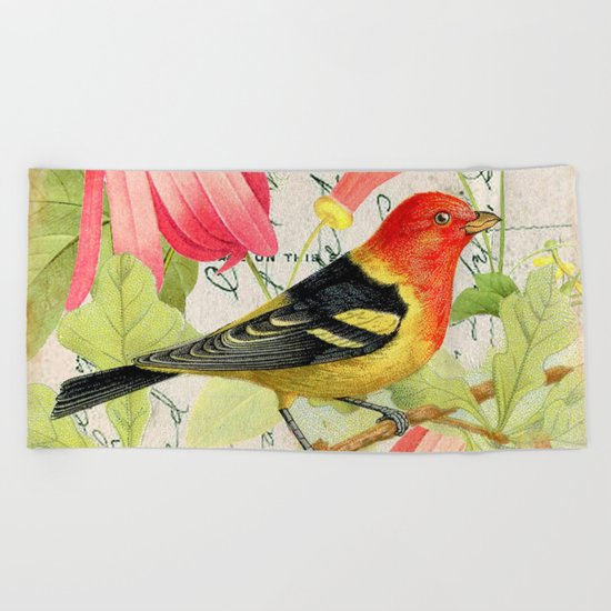 Vintage Bird #4 Beach Towel