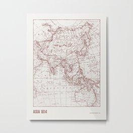 Vintage map of Asia Metal Print