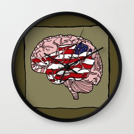 """Flag Mind"" - American Flag, Human Brain - Labor Day - www.davidjdiamant.com Wall Clock"