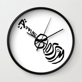 Apple Blossom (Black) Wall Clock