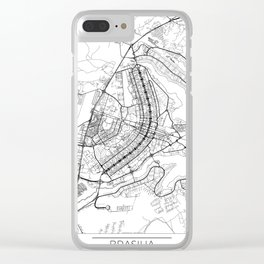 Brasilia Map White Clear iPhone Case