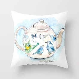 Tea in Wonderland Throw Pillow