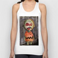 charlie brown Tank Tops featuring You're a zombie Charlie Brown by byron rempel