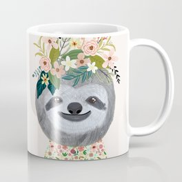 Sloth with flowers on head Coffee Mug