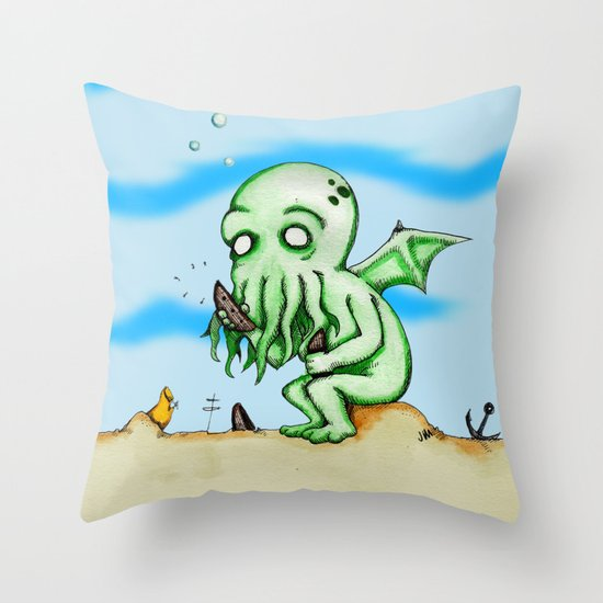 Cthulhu At Play Watercolor/Pen&ink Throw Pillow