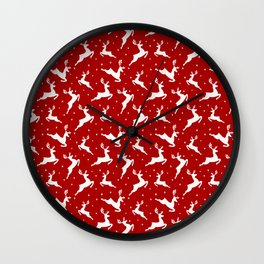 Christmas Reindeer Red Pattern Wall Clock