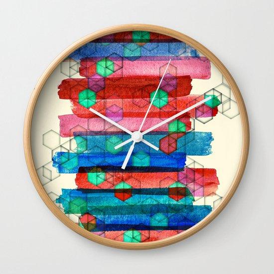 Shape Shifting & Shadow Boxing - watercolor stripes & hexagon pattern Wall Clock