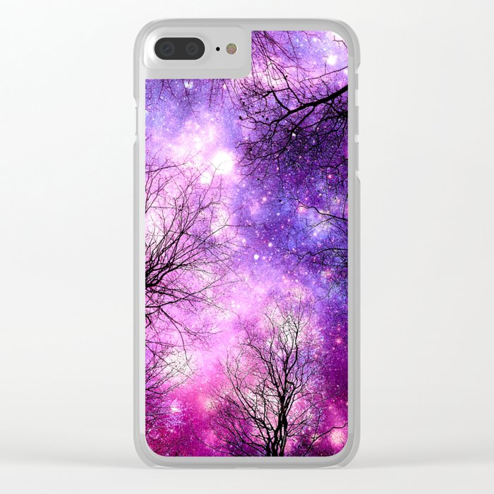 black trees fuchsia purple space Clear iPhone Case