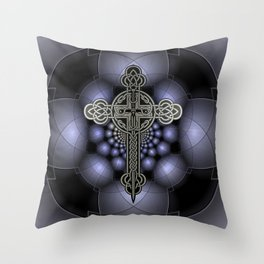 Celtic steel cross Throw Pillow