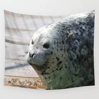 seal Wall Tapestries featuring Leopard seal by Linda Wooderson