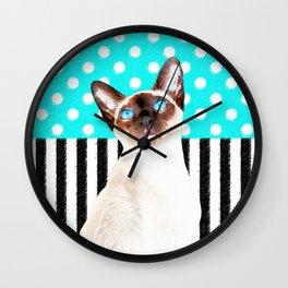 Siamese Cat Polka Teal Wall Clock