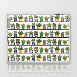 Houseplants Pattern - Colorful Potted Plants On Shelves Laptop & iPad Skin