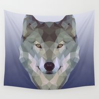 polygon Wall Tapestries featuring Polygon wolf by Gudrun Galdean