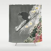 skiing Shower Curtains featuring Spring Skiing by Sarah Eisenlohr