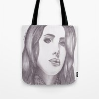 celebrity Tote Bags featuring Celebrity Portrait by N. Rogers Fine Art