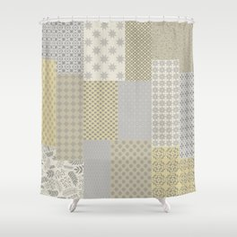 Modern Farmhouse Patchwork Quilt In Gray Marigold And Oatmeal Shower Curtain