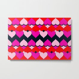 Multi Hearts Red Pink Navy Metal Print
