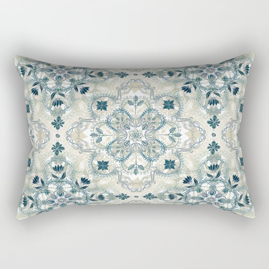 Forest Green & Neutral Taupe Detailed Lace Doodle Pattern Rectangular Pillow