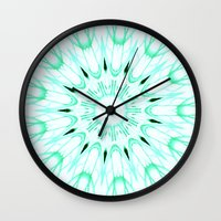 mint Wall Clocks featuring Mint Mandala Explosion by SimplyChic