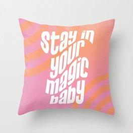 Magic Baby ~ Pink + Orange Bullseye Throw Pillow