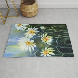 Daisies Watercolor Abstract Flowers Rug
