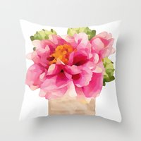 peonies Throw Pillows featuring Peonies  by Xchange Art Studio