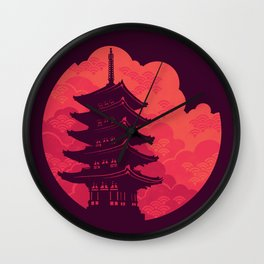 Pagoda Sunset Wall Clock