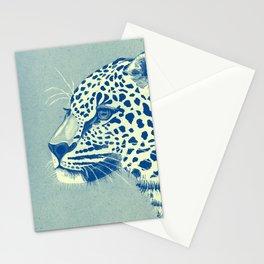 Leopard Turquoise feline glance Stationery Cards
