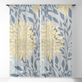 Festive, Floral Prints and Leaves, Yellow, Gray, Navy Blue, Teal Sheer Curtain