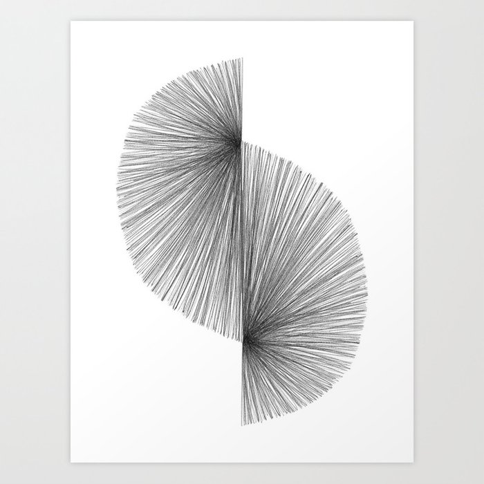 Mid Century Modern Geometric Abstract S Shape Line Drawing Pattern Kunstdrucke
