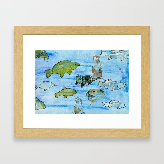 Otters and Carp Framed Art Print