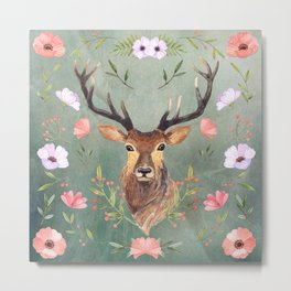 Deer with pink and purple roses on green grunge background Metal Print