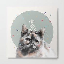 Calico Cat Birthday Metal Print
