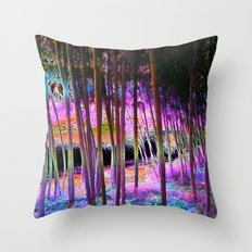 Pink Bamboo Forest  Throw Pillow