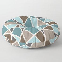 Geometric Design in Teal, Brown and Tan Floor Pillow