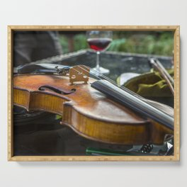 Violin with wine Serving Tray