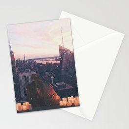 new york city skyline and couple-romance on the rooftop Stationery Cards