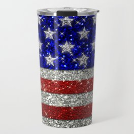 Glitter Sparkle American Flag Pattern Travel Mug