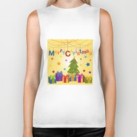 merry christmas Biker Tanks featuring Merry Christmas by itsme.emi
