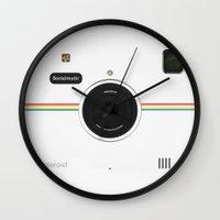 vintage camera Wall Clocks featuring Camera  by alifart
