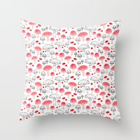 mushroom Throw Pillows featuring mushroom by viktoria.rodek