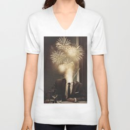 Lovely Head - Fireworks Unisex V-Neck