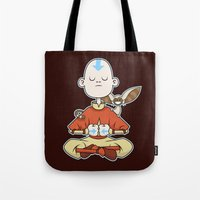 aang Tote Bags featuring Aang & Momo by Matt Page
