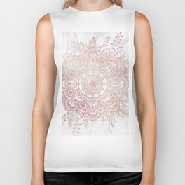 Queen Starring of Mandala-White Marble Biker Tank