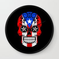 puerto rico Wall Clocks featuring Sugar Skull with Roses and Flag of Puerto Rico by Jeff Bartels