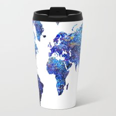 World Map blue purple Travel Mug