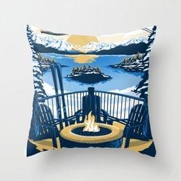Lake tahoe California vintage travel poster Throw Pillow