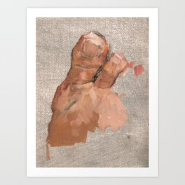 Foot Oil Painting Realistic Painterly Figurative Art in Grey and Skin Tone Art Print