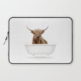 Highland Cow in a Vintage Bathtub (c) Laptop Sleeve